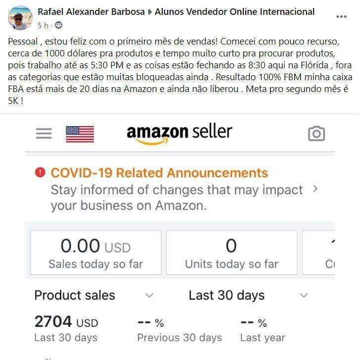 Vendedor Online Internacional Depoimento