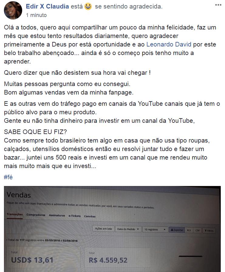 depoimentos sobre o Curso De Marketing Digital Para Afiliados Leonardo David