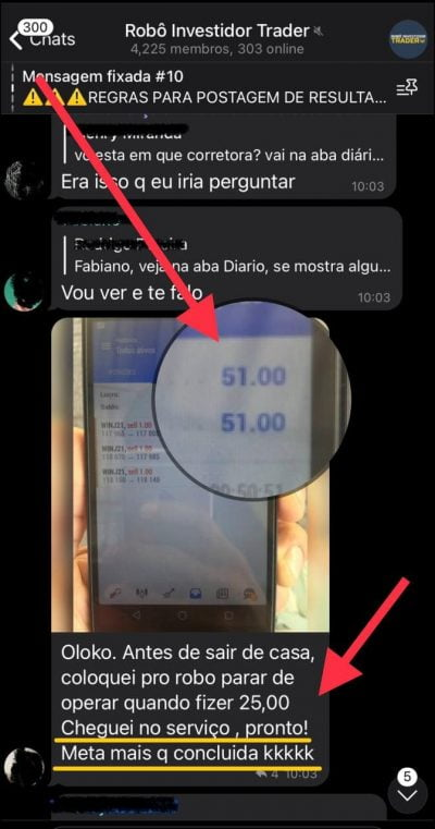 Robô Investidor Trader operando